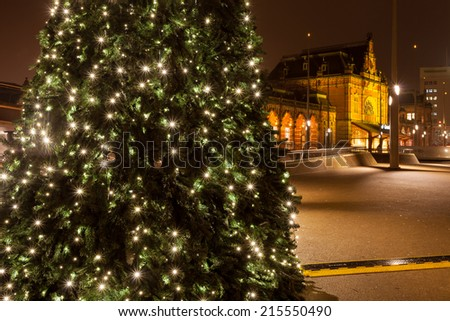 Christamas tree in city near the railway station in Groningen - stock photo