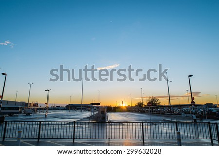 Christchurch Airport during sunrise - stock photo