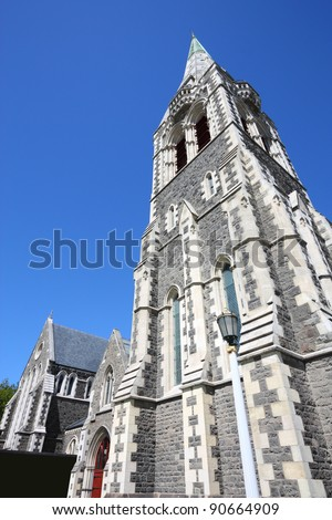 ChristChurch Anglican cathedral in Christchurch, Canterbury, New Zealand. Part of the cathedral collapsed in 2011 earthquake. - stock photo