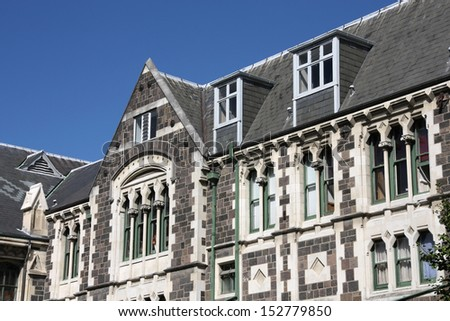 Christchurch Arts Centre - old landmark in Christchurch, New Zealand - stock photo