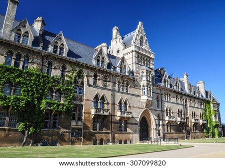 Christchurch College in Oxford, UK. Architectural Detail of Meadow Building, one of the beautiful houses of Christ Church College.  Oxford University, England.  - stock photo