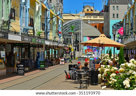CHRISTCHURCH - DEC 07 2015:Cafe restaurant in New Regent Street. Christchurch's beloved New Regent Street is reclaiming its place as a one of the most popular shopping and visitor destination - stock photo