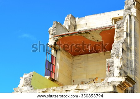 CHRISTCHURCH - DEC 06 2015:Damaged building, Cathedral of the Blessed Sacrament,  in Christchurch.Over 1000 buildings in the CBD (Central Business District) were demolished following the earthquakes. - stock photo