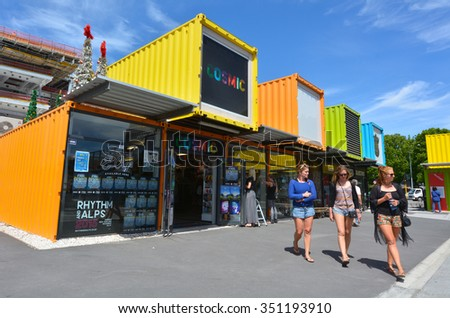 CHRISTCHURCH - DEC 04 2015:Re:START. It's a popular temporary mall built from shipping containers created in response to 2011 Christchurch earthquake, which destroyed most buildings in City Mall. - stock photo