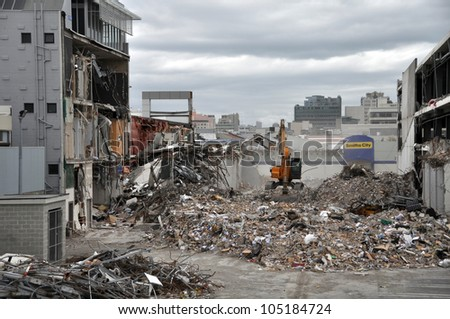 CHRISTCHURCH, NEW ZEALAND - APRIL 01: A view of the southern Christchurch Central Business District (CBD) after the devastating earthquake on April 01, 2011 in Christchurch. - stock photo