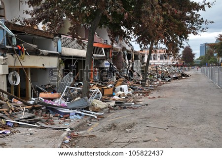 CHRISTCHURCH, NEW ZEALAND - APRIL 01: The retail heart and CBD are destroyed on April 01, 2011 in Christchurch by a giant earthquake.