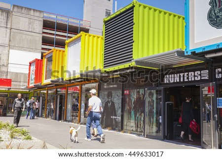 Christchurch, New Zealand: 22 December 2011 - Shopping mall made from shipping containers in central Christchurch New Zealand, as the city recovers from the series of  earthquakes in 2010/2011.