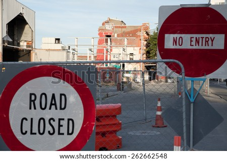 CHRISTCHURCH, NEW ZEALAND - FEBRUARY 14, 2013: Downtown of Christchurch damaged by earthquake in February 2011 - stock photo