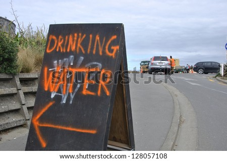 CHRISTCHURCH, NEW ZEALAND, FEBRUARY 26, 2011 - Sign directing people to a desalination plant run by NZ Defence Force to provide fresh water after the earthquake in Christchurch,New Zealand, 22-2-2011 - stock photo