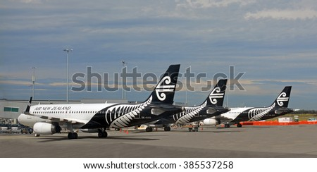 Christchurch, New Zealand - February 26, 2016; Three Air New Zealand Jets in new black and white livery lined up at Christchurch Airport.