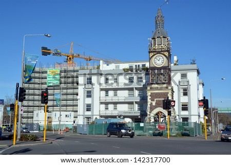 CHRISTCHURCH, NEW ZEALAND - JUNE 08, 2013: Christchurch Earthquake Rebuild - The iconic Diamond Jubilee Clock Tower awaits its turn for repair on June 08, 2013 in Christchurch. - stock photo