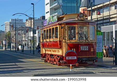 Christchurch, New Zealand - June 15, 2014: Vintage Tram operating sightseeing tours on Worcester Boulevard in Winter.