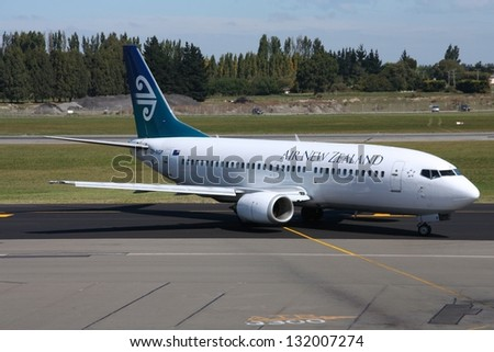 CHRISTCHURCH, NEW ZEALAND - MARCH 18: Air New Zealand Boeing 737 on March 18, 2008 at Christchurch Airport, New Zealand. Air NZ has 12 737s and is going to replace them with Airbus aircraft. - stock photo