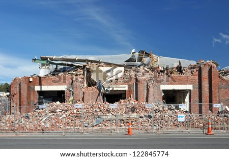 CHRISTCHURCH, NEW ZEALAND - MARCH 25, 2011: Brick factory in Ferry Road is destroyed by repeated earthquakes on March 25, 2011 in Christchurch. - stock photo