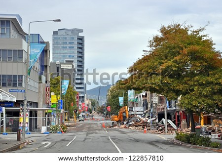 CHRISTCHURCH, NEW ZEALAND - MARCH 17, 2011: Buildings on the corner of Colombo and Peterborough streets collapse after an earthquake on March 17, 2011 in Christchurch. - stock photo