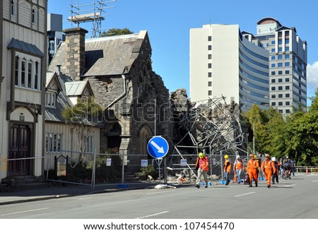 CHRISTCHURCH, NEW ZEALAND - MARCH 09: Engineers assess earthquake damage to heritage buildings on March 09, 2011 in Christchurch. - stock photo
