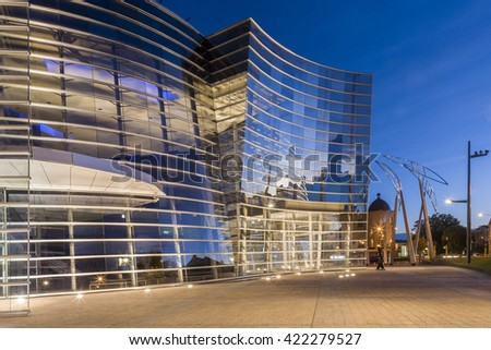 Christchurch, New Zealand: 11 March 2006 - the spectacular glass and steel art gallery at twilight, by Buchan Group.