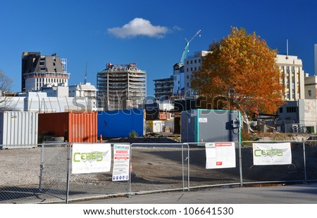 CHRISTCHURCH, NEW ZEALAND - MAY 27: Some of the last tall buildings in the CBD await post earthquake demolition on May 27, 2012 in Christchurch.