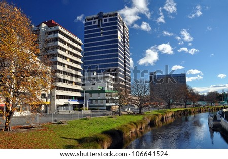 CHRISTCHURCH, NEW ZEALAND - MAY 27: The second tallest building in the city (Price Waterhouse Building) awaits post earthquake demolition on May 27, 2012 in Christchurch. - stock photo