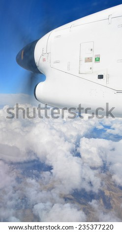 Christchurch, New Zealand - November 28, 2014: Aerial view of flight over North Canterbury in an Air Nelson Bombardier Q300 plane. - stock photo