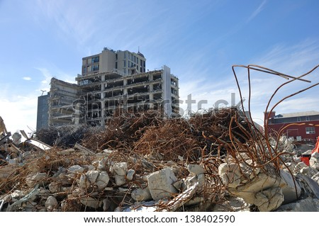 CHRISTCHURCH, NEW ZEALAND, NOVEMBER 16: Piles of earthquake rubble lay untended in Christchurch, New Zealand on 16-11-2012. - stock photo
