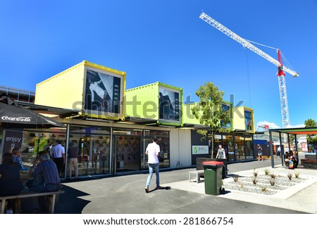 Christchurch, New Zealand -November 24, 2014: 2014: Restart Container Shops have been relocated to the Western End of Cashel Street Mall. - stock photo