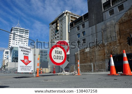 CHRISTCHURCH, NEW ZEALAND, NOVEMBER 16: Signage directs people to an earthquake assembly point in Christchurch, New Zealand, 16-11-2012. 182 people died in the 6.4 earthquake the previous year. - stock photo