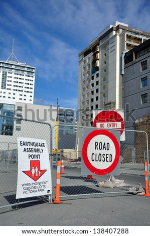 CHRISTCHURCH, NEW ZEALAND, NOVEMBER 16: Signage directs people to an earthquake assembly point in Christchurch, New Zealand  on 16-11-2012.