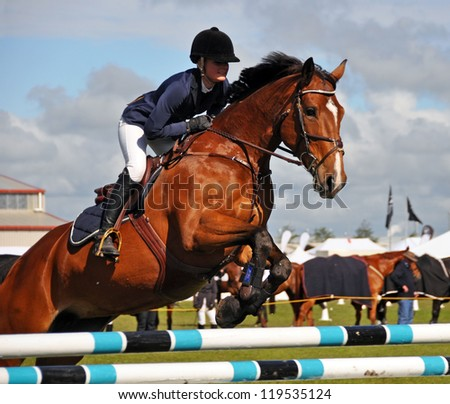 CHRISTCHURCH, NEW ZEALAND - NOVEMBER 16: Woman and horse competing at The 2012 Canterbury A&P Show on November 16, 2012 in Christchurch. - stock photo