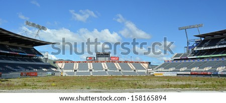 CHRISTCHURCH, NEW ZEALAND - OCTOBER 12, 2013: Lancaster Park, formerly Jade Stadium and currently known as AMI Stadium lies derelict and awaiting demolition on October 12, 2013 in Christchurch. - stock photo