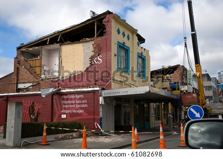 CHRISTCHURCH, NEW ZEALAND - SEPT 9:  Damaged shop fronts from a 7.1 magnitude earthquake that struck on 4 September. Strong aftershocks continue.  9 September 2010 in Christchurch, New Zealand. - stock photo
