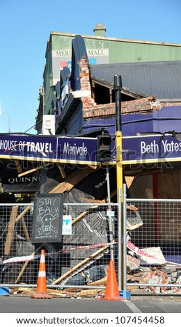 CHRISTCHURCH, NEW ZEALAND - SEPTEMBER 07: A travel agency on Papanui Road is demolished by a 7.1 earthquake on September 07, 2010 in Christchurch. - stock photo
