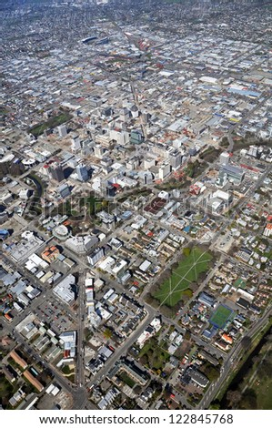 CHRISTCHURCH, NEW ZEALAND - SEPTEMBER 21, 2011: Aerial view of the city and north-eastern suburbs building demolitions following recent  earthquakes on September 21, 2011 in Christchurch.