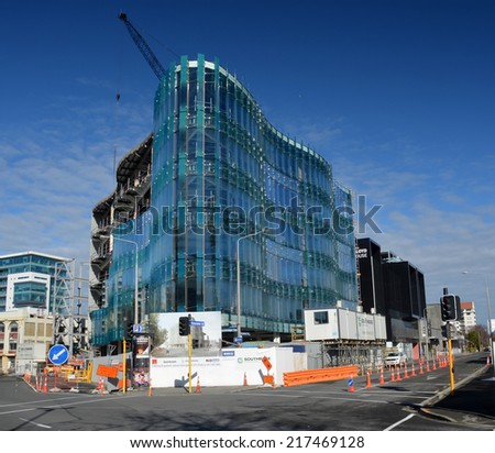 Christchurch, New Zealand - September 13, 2014: 151 Cambridge Terrace Innovative Glass Office Building Nears Completion - stock photo