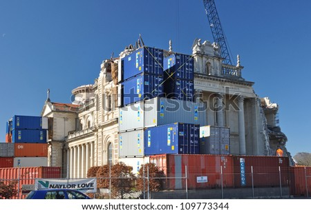 CHRISTCHURCH, NEW ZEALAND - SEPTEMBER, 3: Containers are stacked against the walls of the Cathedral to ensure no further damage occurs during restoration on September 03, 2011 in Christchurch. - stock photo