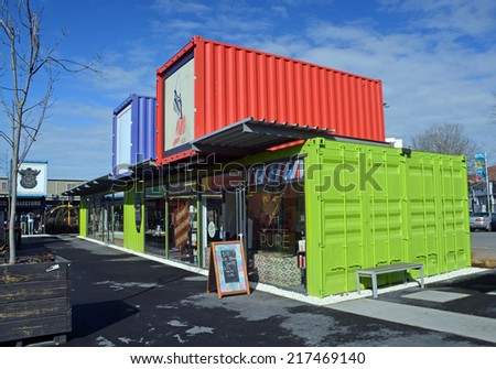Christchurch, New Zealand - September 13, 2014: 2014: Restart Container Shops have been relocated to the Western End of Cashel Street Mall. - stock photo