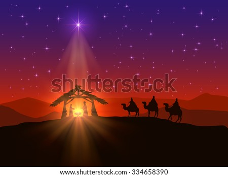 Christian background with Christmas star and birth of Jesus, illustration. - stock photo