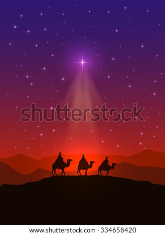 Christian background with Christmas star and three wise men, illustration. - stock photo