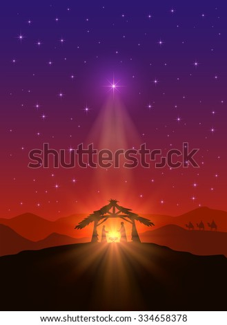 Christian background with Christmas star, birth of Jesus and three wise men, illustration.
