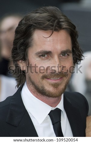 """Christian Bale arriving for European premiere of """"The Dark Knight Rises"""" at the Odeon Leicester Square, London. 18/07/2012 Picture by: Simon Burchell / Featureflash - stock photo"""