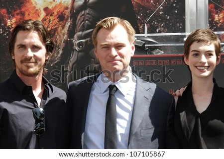 Christian Bale, Christopher Nolan, Anne Hathaway at the Christopher Nolan Hand and Footprint Ceremony, Chinese Theater, Hollywood, CA 07-07-12