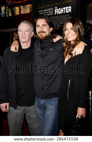 Christian Bale, Sibi Blazic and Dickie Eklund at the Los Angeles premiere of 'The Fighter' held at the Grauman's Chinese Theatre in Hollywood on December 6, 2010. - stock photo