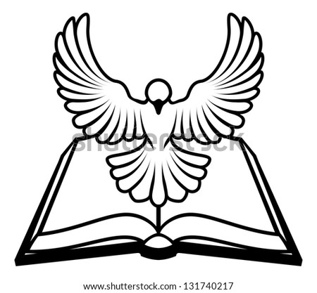 Christian Bible dove concept, a white dove representing the holy spirit flying out of the bible. Could refer to inerrant or inspired nature of the bible, or word of God coming to us through the bible.