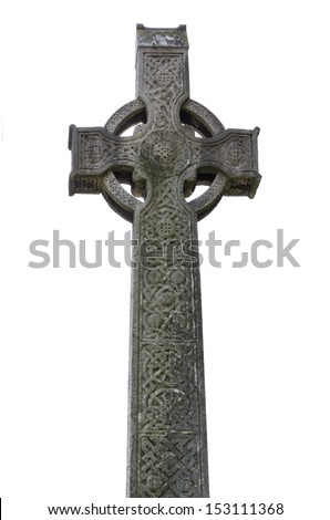 Christian Celtic cross on white, located on the graveyard of the Cathedral of Chelmsford, England, United Kingdom. - stock photo