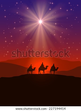 Christian Christmas background with shining star on night sky and three wise men, illustration. - stock photo