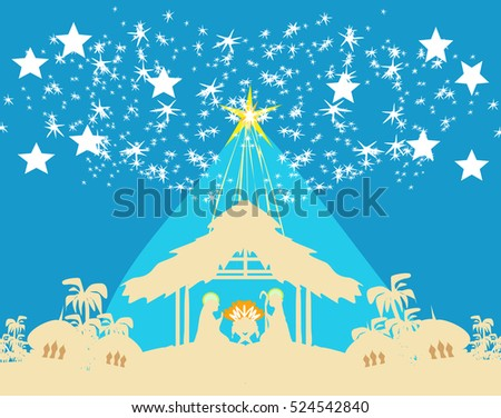 Christian Christmas nativity scene of baby Jesus in the manger