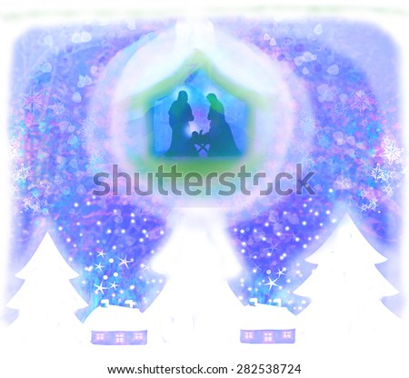 Christian Christmas nativity scene of baby Jesus in transparent ball hanging on blue background - stock photo