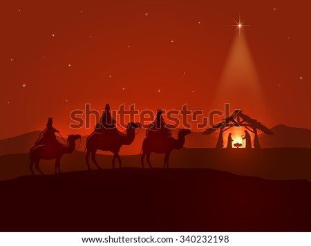 Christian Christmas night, shining star, three wise men and the birth of Jesus, illustration. - stock photo