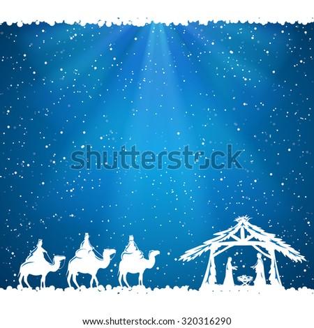 Christian Christmas scene on blue background, illustration. - stock photo