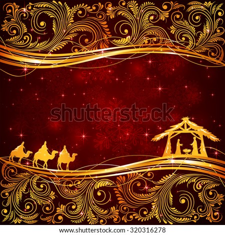 Christian Christmas scene with golden floral elements on red background, illustration - stock photo